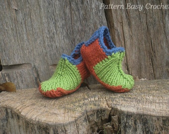 Baby colored slippers - knitting pattern
