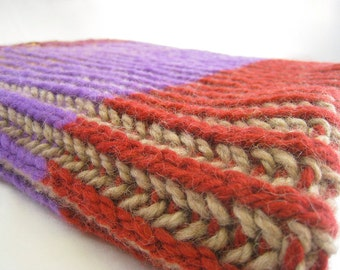Knitting Pattern Baby Blanket with two colors in the row