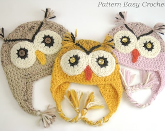 Crochet pattern owl hat in 4 sizes from toddler to adult