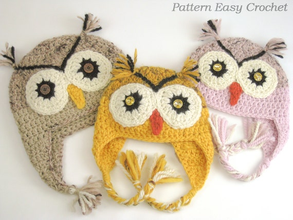 Crochet Pattern Owl Hat In 4 Sizes From Toddler To Adult Etsy