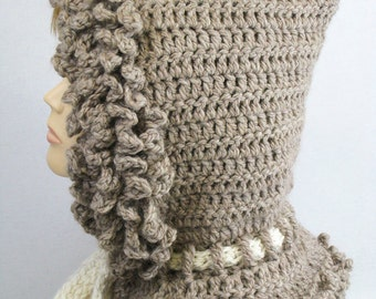 Crochet pattern cowl hooded in 4 sizes from toddler to adult