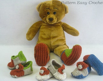 Knitting pattern baby slippers with bear - instant download
