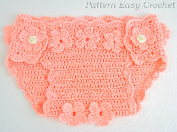 Crochet Pattern Baby Diaper Cover Floral Instant Download Etsy