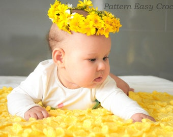 Crochet Pattern Baby Blanket Floral  - flowering meadow for newborn - instant download