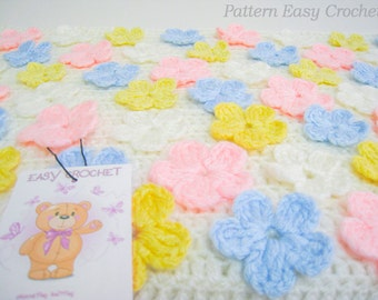 Baby Blanket with multicolored flowers crochet pattern, crochet baby blanket floral, baptism blanket, coverlet baby - pattern digital