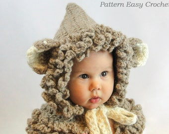Crochet Pattern Cowl, hat hooded in 4 sizes from toddler to adult