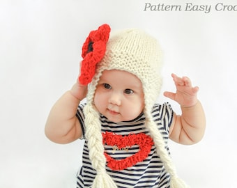 Knitting pattern hat with flower in 6 sizes from newborn to adult