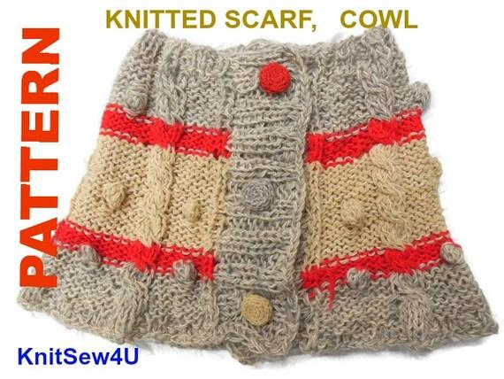 Knit Cowl Patern Pdf Wool Scarf Knitting Patterns Neck Etsy