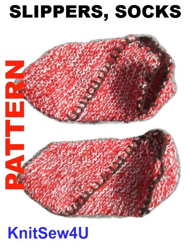 Easy Pattern Pdf Tutorial Knitted Slippers Women Socks Etsy