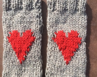 40%OFF, Weekend Sale, Valentine red heart knitted gloves, gift for her, gift for him