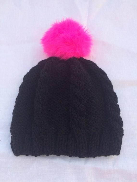 Black knit cable hat Hot pink Pom Pom  1e82eba431