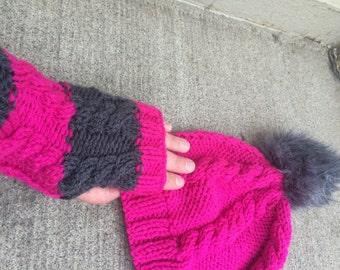 20%OFF, Hot Pink hand knit gloves, Majenta mittens