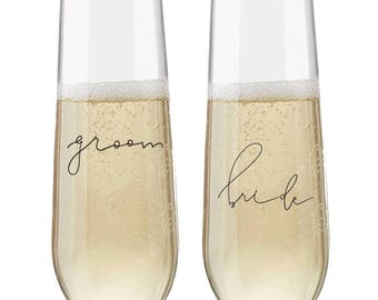 Bride and Groom Champagne Flute Stemless Champagne Glass Bride Groom Wedding Gift Wedding Champagne Flute Champagne Glass Bridal Gift Bridal
