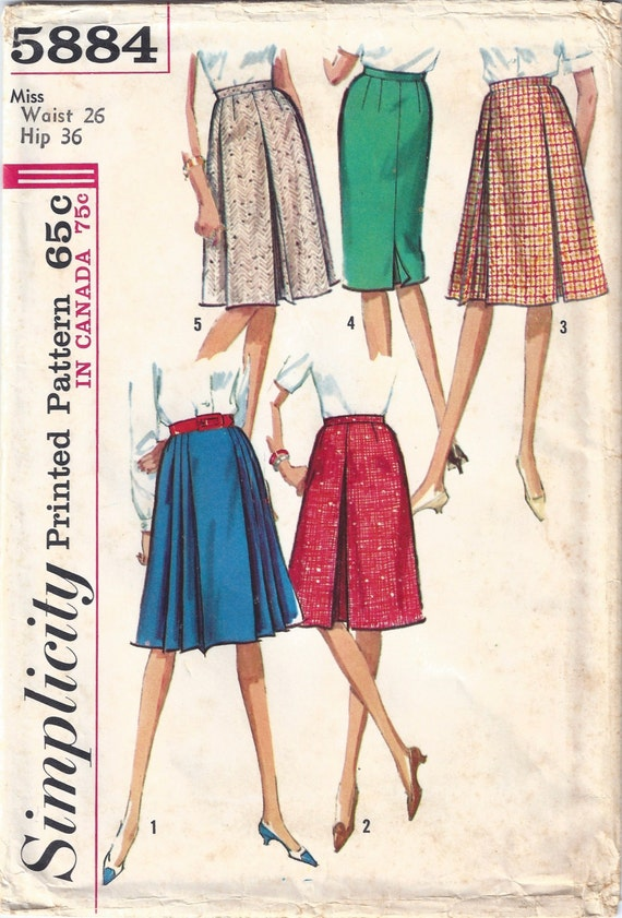 Simplicity Sewing Pattern 5884 Vintage 1960s Set Of Skirts 26 Waist 36 Hips Pleated Fitted