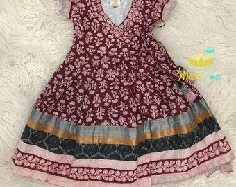 e81d7433c Kids Anarkali Dress, Kids Wrap Dress, Kids Boho Clothing, Kids Boho Dress,  Kids Bohemian Dress,Kids Maroon Dress, Eco-Friendly, Ikat Border.