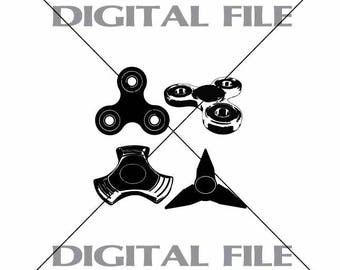 Four Hand Spinners Vector Images SVG Files Digital Cutting Files  Ai - Eps - PNG - DXF - Svg