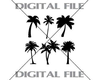 Six Palm Trees Vector Images SVG Files Digital Cutting Files  Ai - Eps - PNG - DXF - Svg