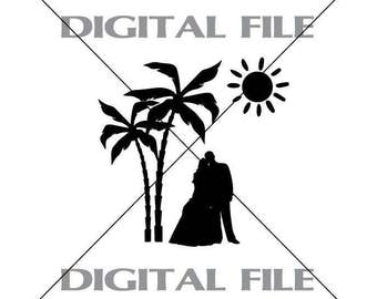 Bride And Groom Under Palm Trees Wedding Vector Images Vinyl Decal T-shirt Digital Cutting Files ,Svg File, Ai, Eps, PNG