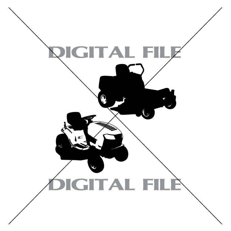 Two Riding Lawn Mowers Vector Images Vinyl Decal T-shirt Digital Cutting Files ,Svg Files, Ai, Eps, PNG for sale