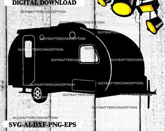 Travel Camper Vector Image SVG Files Digital Cutting Files  Ai - Eps - PNG - DXF - Svg - A1