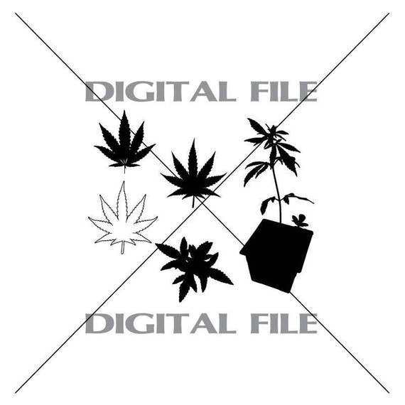 Five Marijuana Leaves Vector Images Vinyl Decal T Shirt Etsy