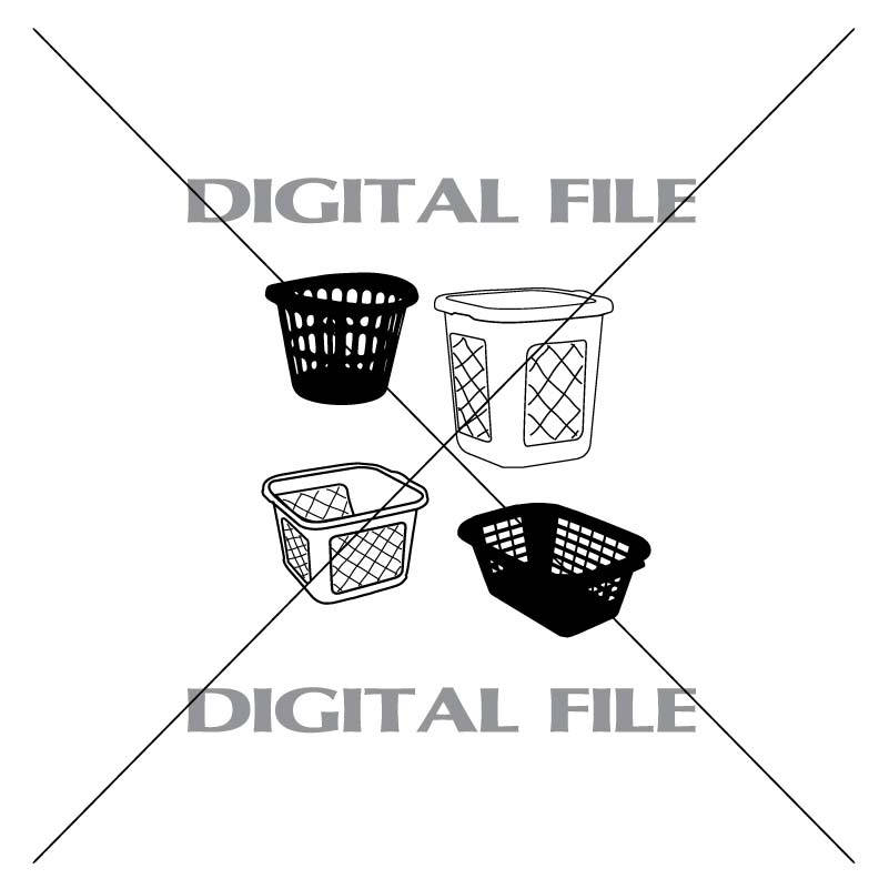 Four Laundry Baskets Vector Images Vinyl Decal T Shirt Digital
