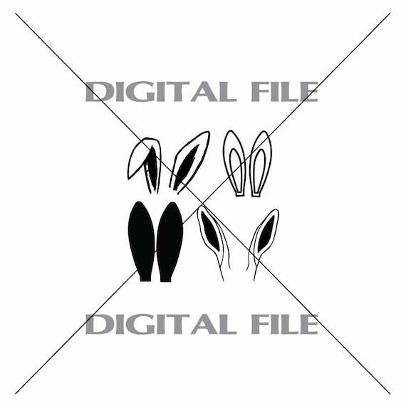 Four Rabbit Ears Vector Clipart Vinyl Decal T Shirt Digital