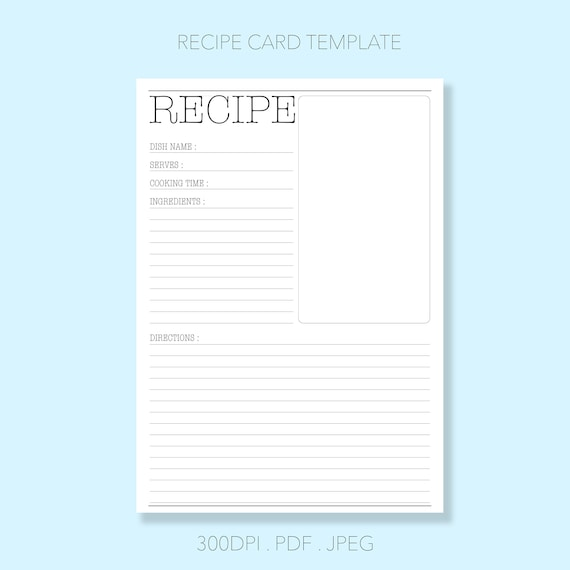 Printable Recipe Template Recipe Binder Recipe Sheet Blank Etsy