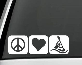 M1079 Peace Love Kayak Decal Sticker