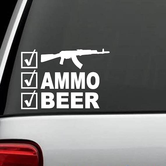 0abf7da99c1887 G1053 Guns Ammo Beer Checklist Decal Sticker Truck SUV