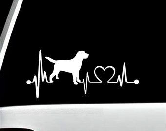 Labrador Retriever Heartbeat Decal Sticker | Lab Decal for Car WIndow | K1003