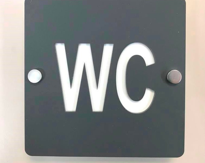 Light Grey Round Male /& Female Toilet Bathroom Signs with Chrome Fixings