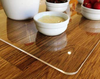 Rectangle Large Placemats / Serving Mat / Table Protector   Clear Gloss 3mm  Acrylic