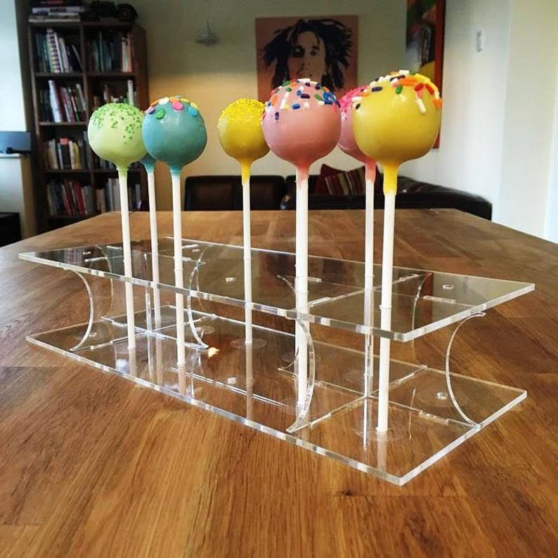 31x13cm 12 cakepops or 45x16cm 17.5x 6 - 8.5x5 Rectangle Clear Gloss Acrylic Cake Pop Stands 36 cakepops