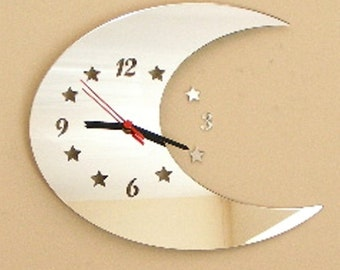 Half Moon Clock Mirror with Cut Out Stars - 2 Sizes Available