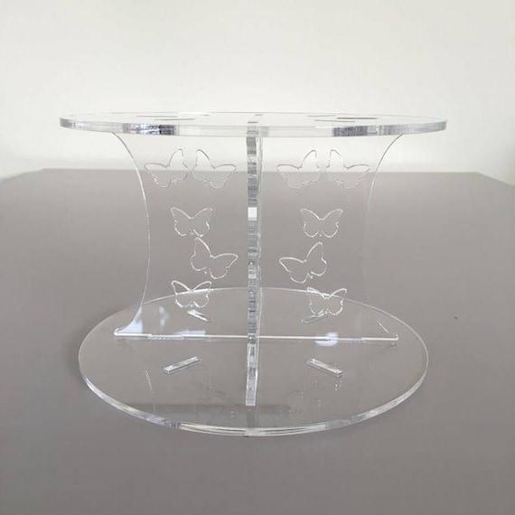 Plain Design Carré Mariage//Fête Gâteau séparateurs-Acrylique Transparent