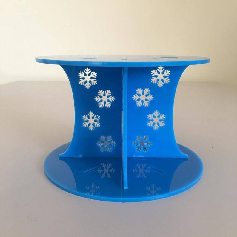 Frozen Round Bright Blue Gloss Acrylic Cake Pillars  Cake Separators Size 6 7 8 9 10 11 12 for Wedding  Party Cakes 10cm 4 High