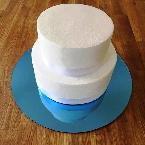 Rondes en planche à gâteau, acrylique de 3mm finition miroir bleu, les tailles 7», 9 «, 11», 13 «, 15» & 17»