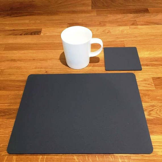 Easy Wipe Clean Oval Placemats /& Round Coasters Light Grey Mat Sets 4//6//8