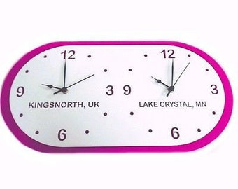 Bespoke Time Zone Clock - Countries / Places, 30cm x 15cm Hangs on wall or table Several Colour Choices