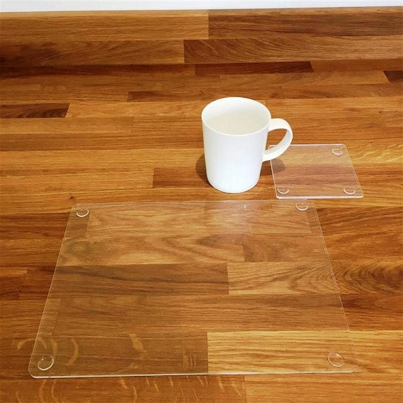 Rectangle Placemats or Placemats & Coasters - in Clear Gloss Finish Acrylic  3mm