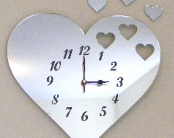 Hearts out of Heart Clock Mirror - Many colour and size options