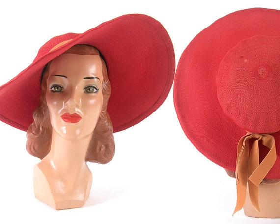 Vintage 1940s 1950s Sun Hat | 40s 50s NEW YORK CR… - image 1