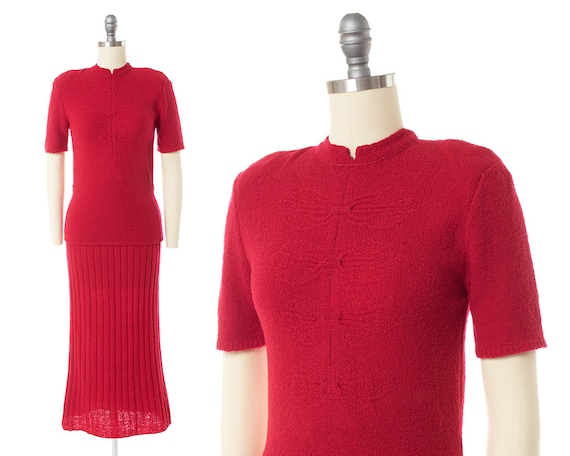Vintage 1940s 1950s Knit Set | 40s 50s Bright Red