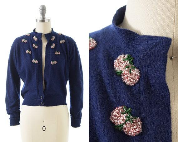 Vintage 1950s Cardigan | 50s Scottish Cashmere Str