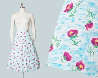 Vintage 1940s Skirt | 40s Cotton Feedsack Floral Clouds Novelty Print Pink Blue Full Skirt (medium/large)