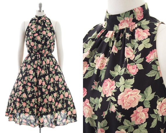 Vintage 1980s Sundress   80s Rose Printed Black Ra