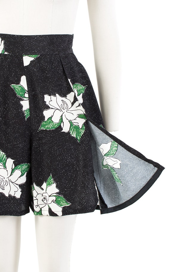 Vintage 1930s Style Shorts   80s Black Floral Ray… - image 8