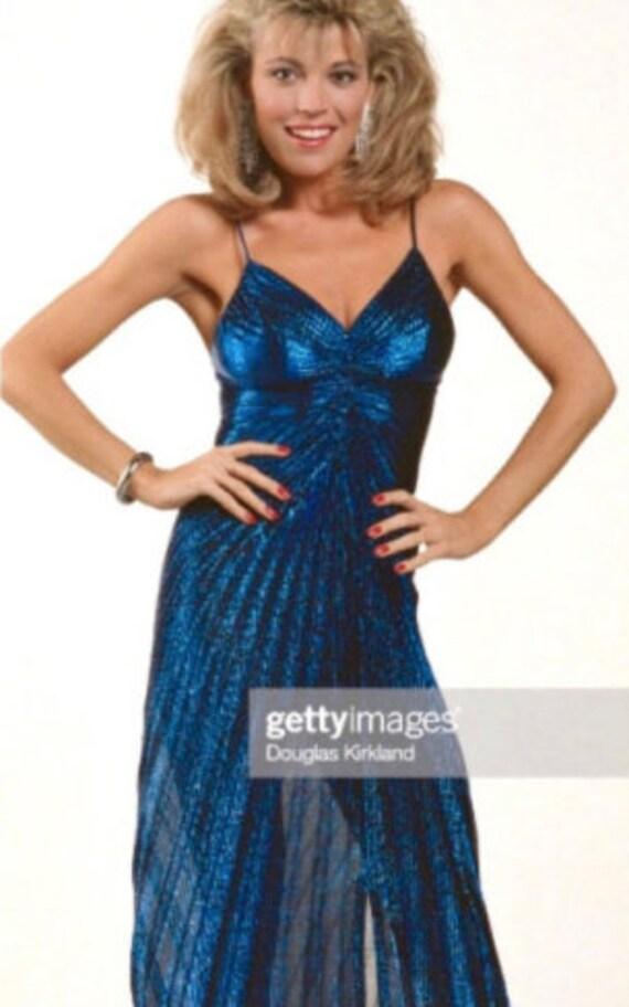 Vintage 1980s Party Dress   80s Metallic Blue Acc… - image 3