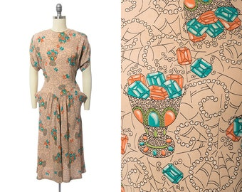 RARE Vintage 1940s Dress   40s Spiderweb Gems Novelty Print Rayon Crepe Cocktail Evening Dress w/ Pockets (small)